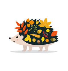 hello autumn cute hedgehog and leaves vector image