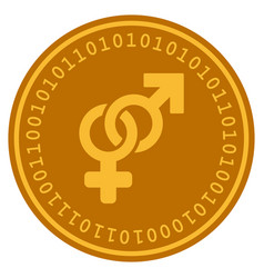 Heterosexual symbol digital coin vector