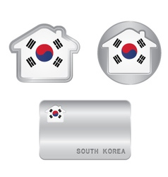 Home icon on the South Korea flag vector image