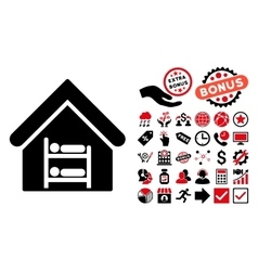 Hostel Flat Icon with Bonus vector