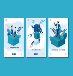 isometric employees working to create solutions vector image