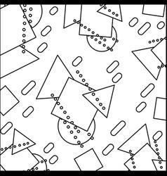 Line geometric figures memphis style background vector