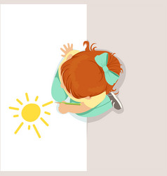 Little girl sitting on her knees and drawing sun vector