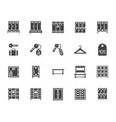 Locker room flat glyph icons set gym school vector