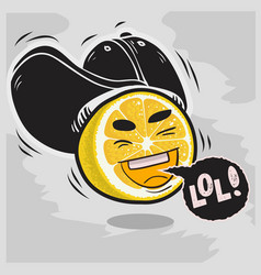 lol lots of laughs with laughing sliced lemon with vector image