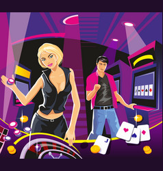 lucky woman hold casino chips while spinning vector image