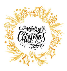 Merry christmas calligraphy lettering text and a vector