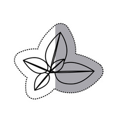monochrome contour sticker of leaves with branch vector image