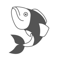 monochrome silhouette of largemouth bass fish vector image
