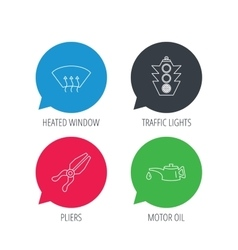 Motor oil change traffic lights and pliers vector
