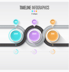 navigation map infographic 3 steps timeline vector image