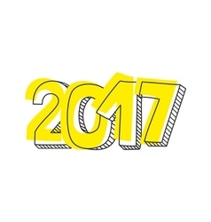 New Year 2017 hand drawn yellow sign isolated vector image