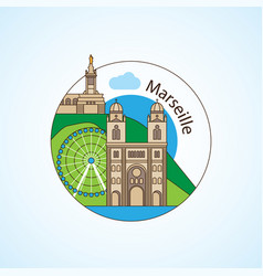 notre-dame de la garde and - the symbol of vector image
