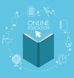 On line education with books vector