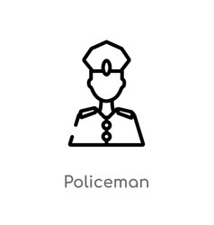 Outline policeman icon isolated black simple line vector