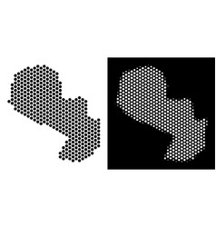 Paraguay map hex-tile scheme vector