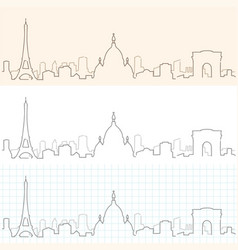Paris hand drawn skyline vector