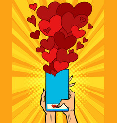 phone hearts social networks sympathy connections vector image