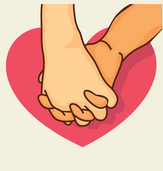 pinky promise hands with heart vector image