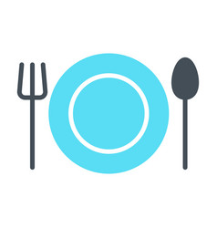 plate fork and spoon icon cutlery sign vector image