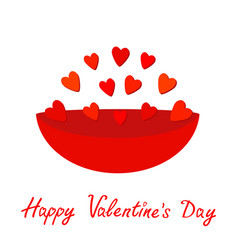 plate full of red hearts gift object happy vector image