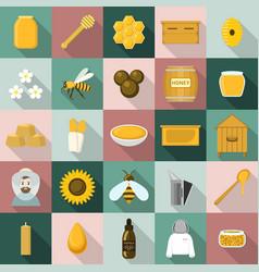 propolis honey icon set flat style vector image