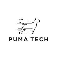 Puma animal technology logo simple minimalist vector