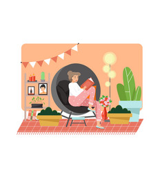 reading books at home flat vector image