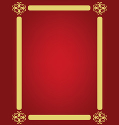 Red background with golden ornament frame vector