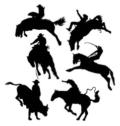 Rodeo activity silhouettes vector