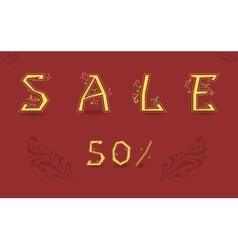 Sale Fifty percents Graceful font vector