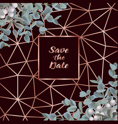 Save date card with eucalyptus vector