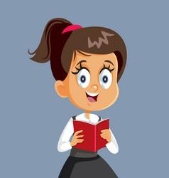 Schoolgirl holding book character vector