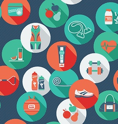 Seamless pattern with icons of fitness vector image