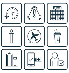 Set of 9 airport icons includes resort vector