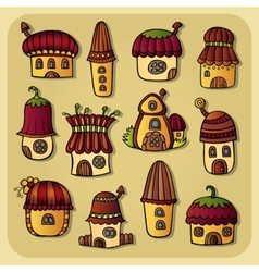 Set of color cartoon houses vector image