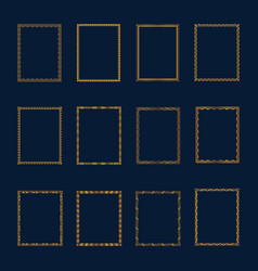 set of luxury golden frames and borders set set vector image