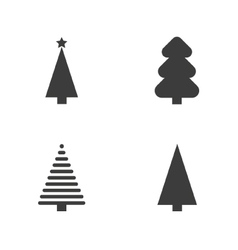 Set of monochrome christmas tree vector image