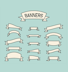 set of vintage banners old ribbon banners in vector image