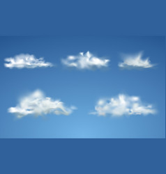 set realistic isolated cloud vector image