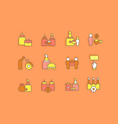 set simple line icons b2b vector image