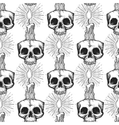 Skull and candle occult seamless pattern vector