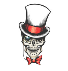Skull in cylinder hat with monocle vector