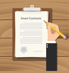 smart contracts business man signing a paper work vector image