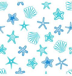 Starfishes and seashells seamless pattern marine vector