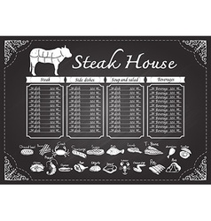 Steak house menu on chalkboard vector image