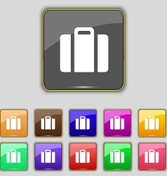 suitcase icon sign Set with eleven colored buttons vector image