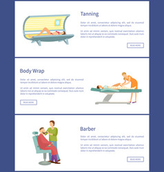 Tanning body wrap and barber shop web posters vector