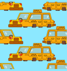 Taxi pattern yellow car transportation of people vector
