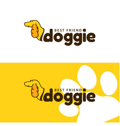 template logo for doggie pet shop vector image